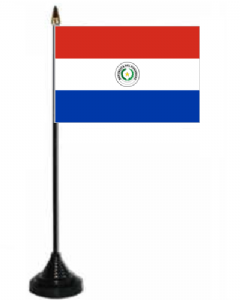Paraguay Desk / Table Flag with plastic stand and base.